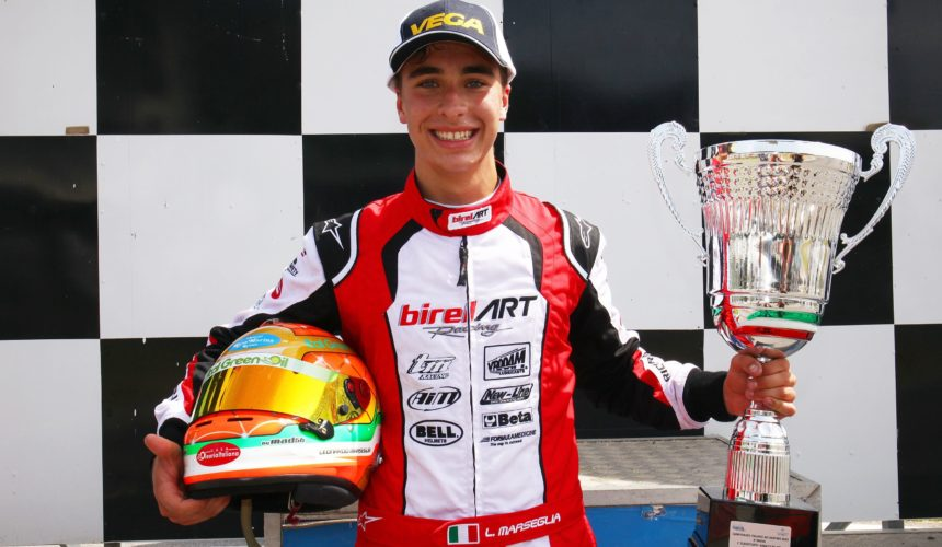Leonardo Marseglia wins Race 2 of the ACI Karting Italian Championship in Sarno